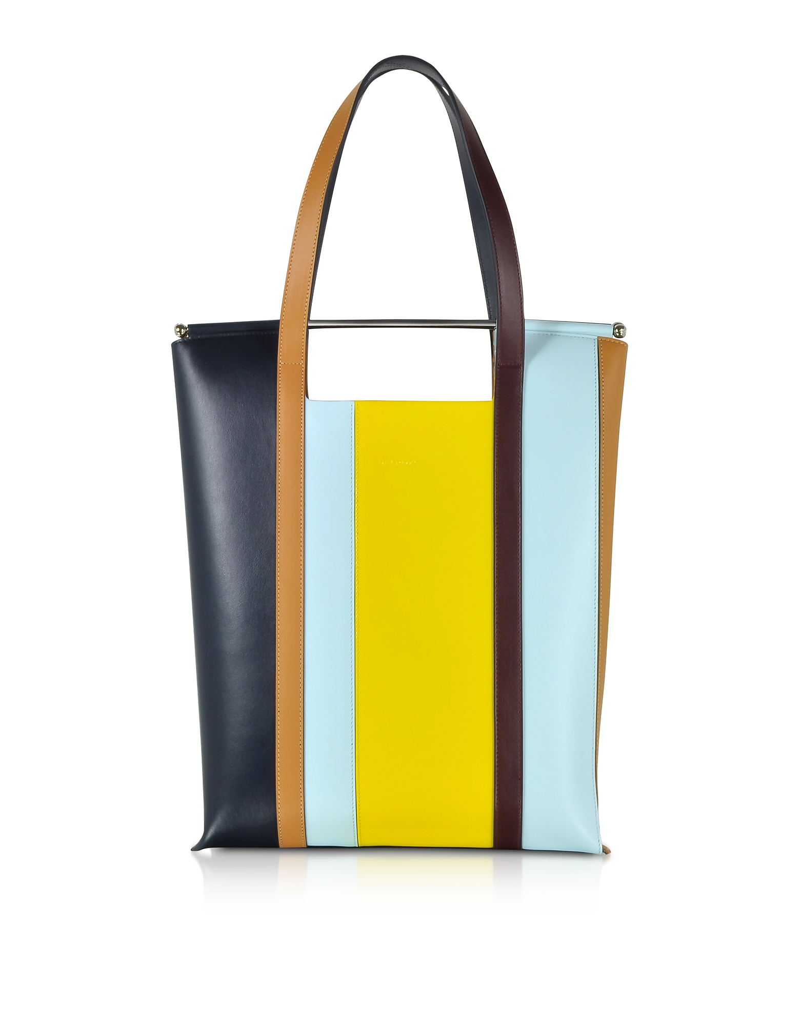 Delpozo Handbags, Vertical Striped Patent Leather and Calfskin Great Tote with Handles