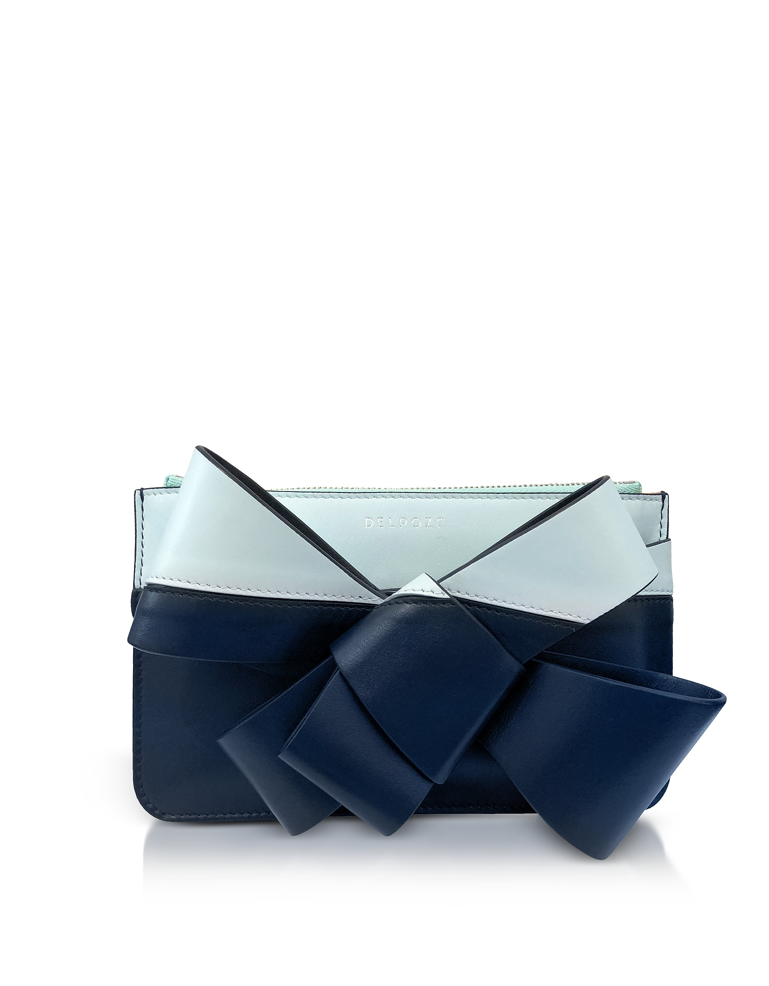 Mini Bow Clutch in Pelle e Vernice Color Block con Tracolla