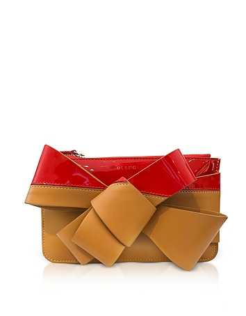 SDelpozo Striped Leather Mini Bow Clutch