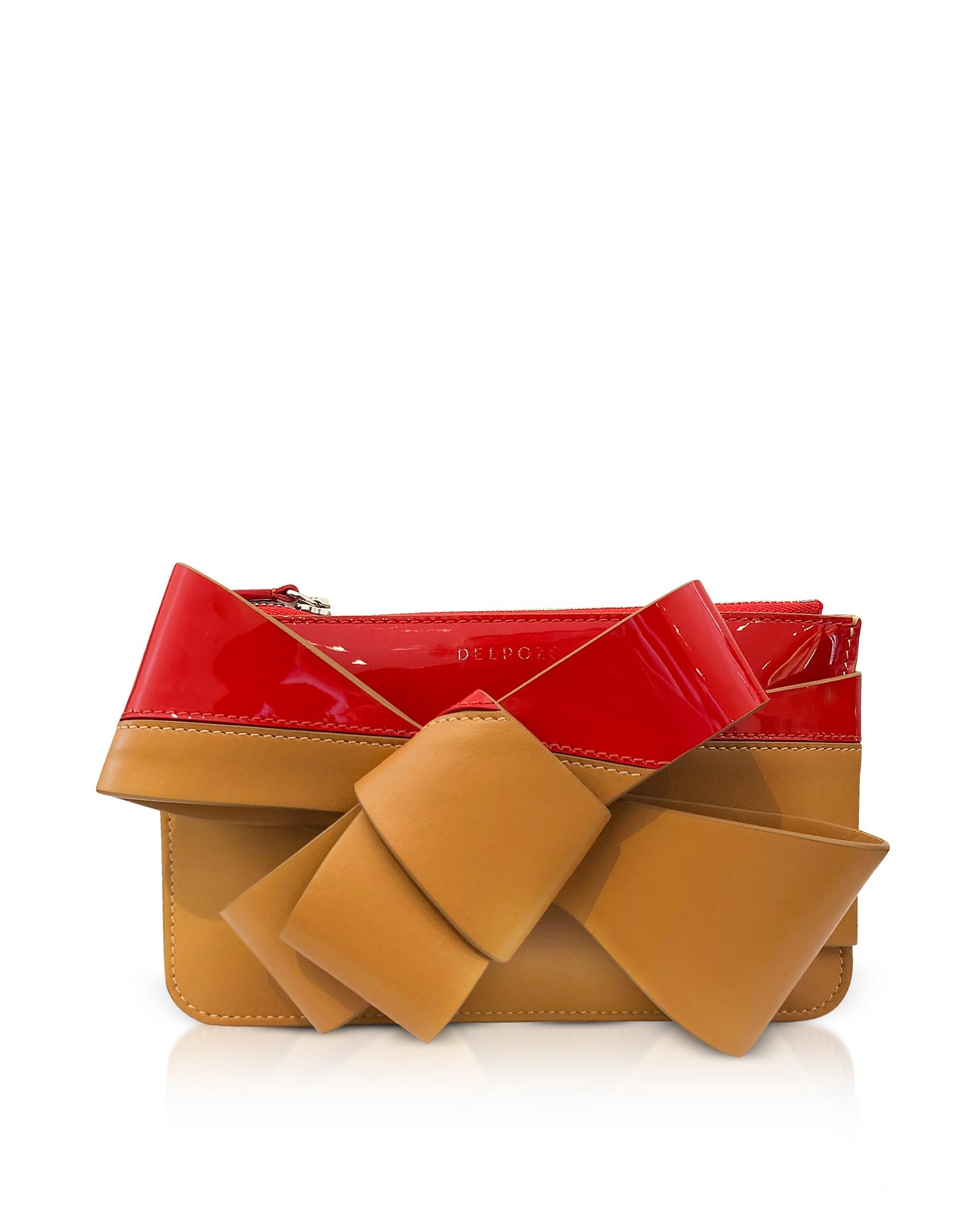 Delpozo Handbags, Striped Leather Mini Bow Clutch
