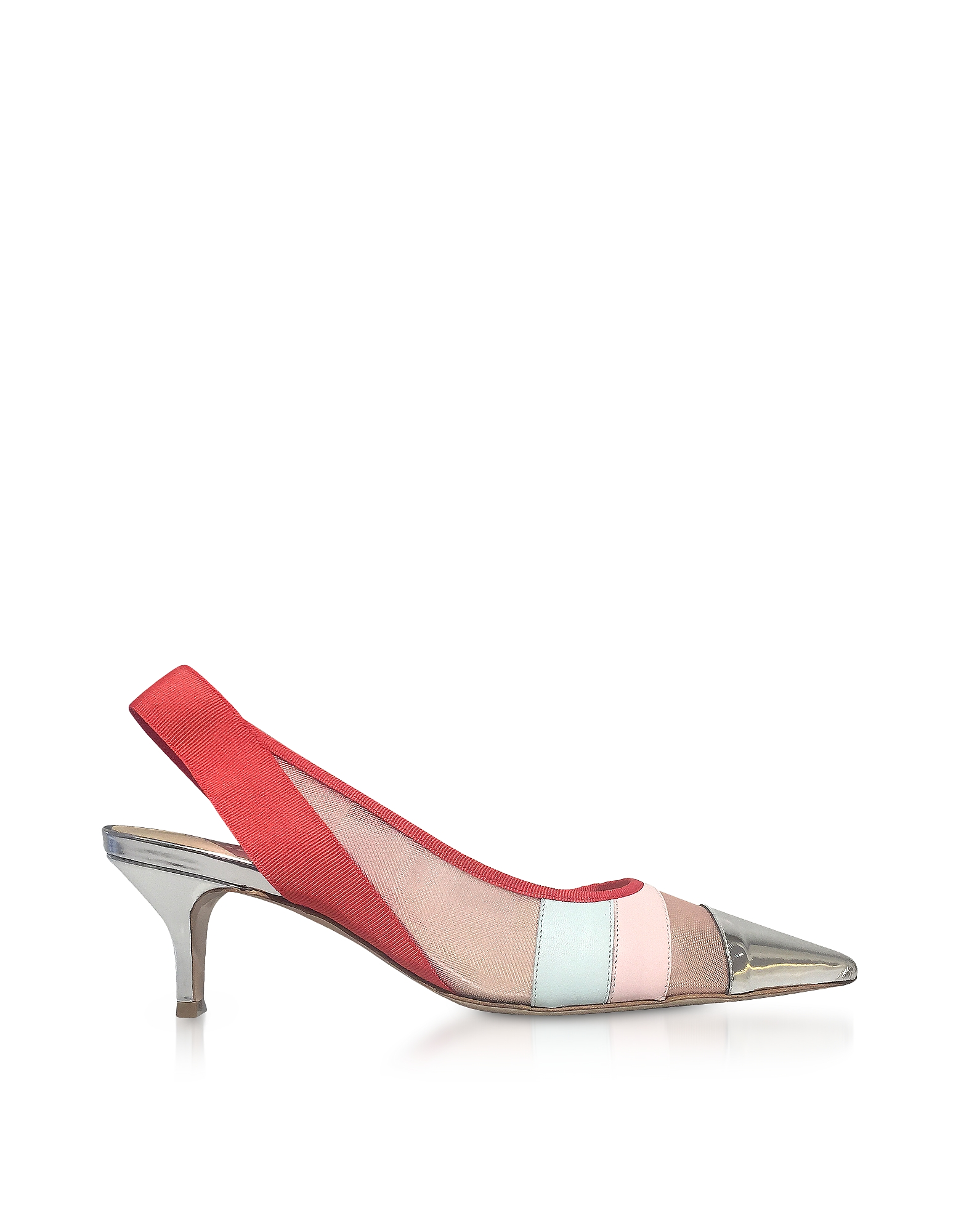Dècolletè Slingback in Pelle Color Block e Nylon Trasparente