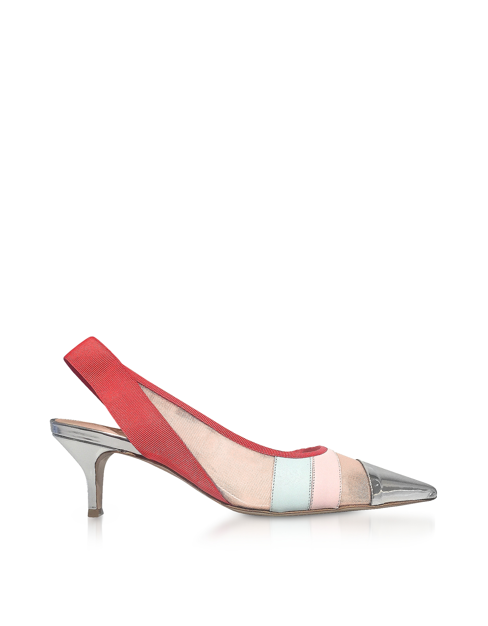 Color Block Leather and Mesh Sligback Shoes