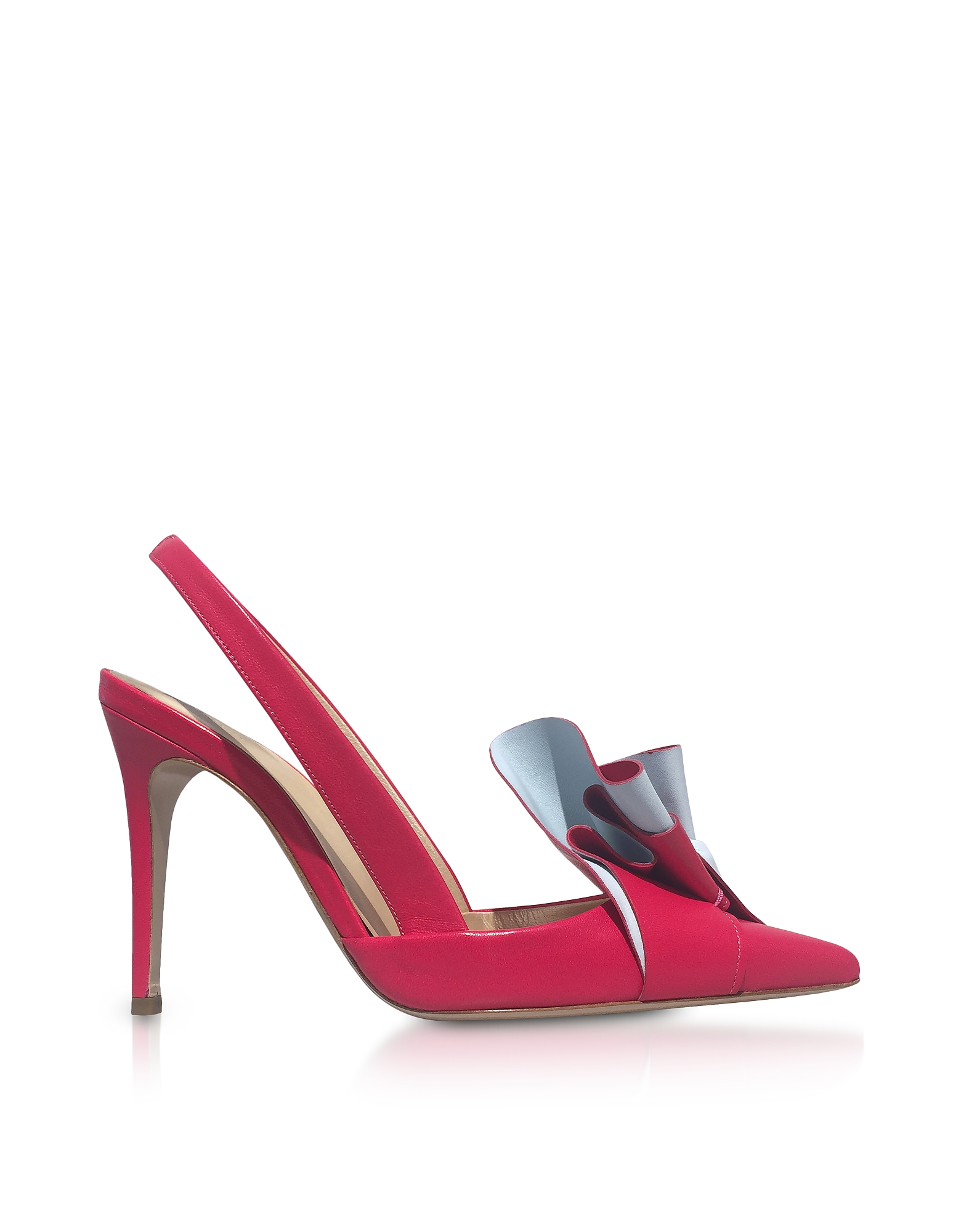 Delpozo Shoes, Two-Tone Leather Ruffle Slingback Pumps