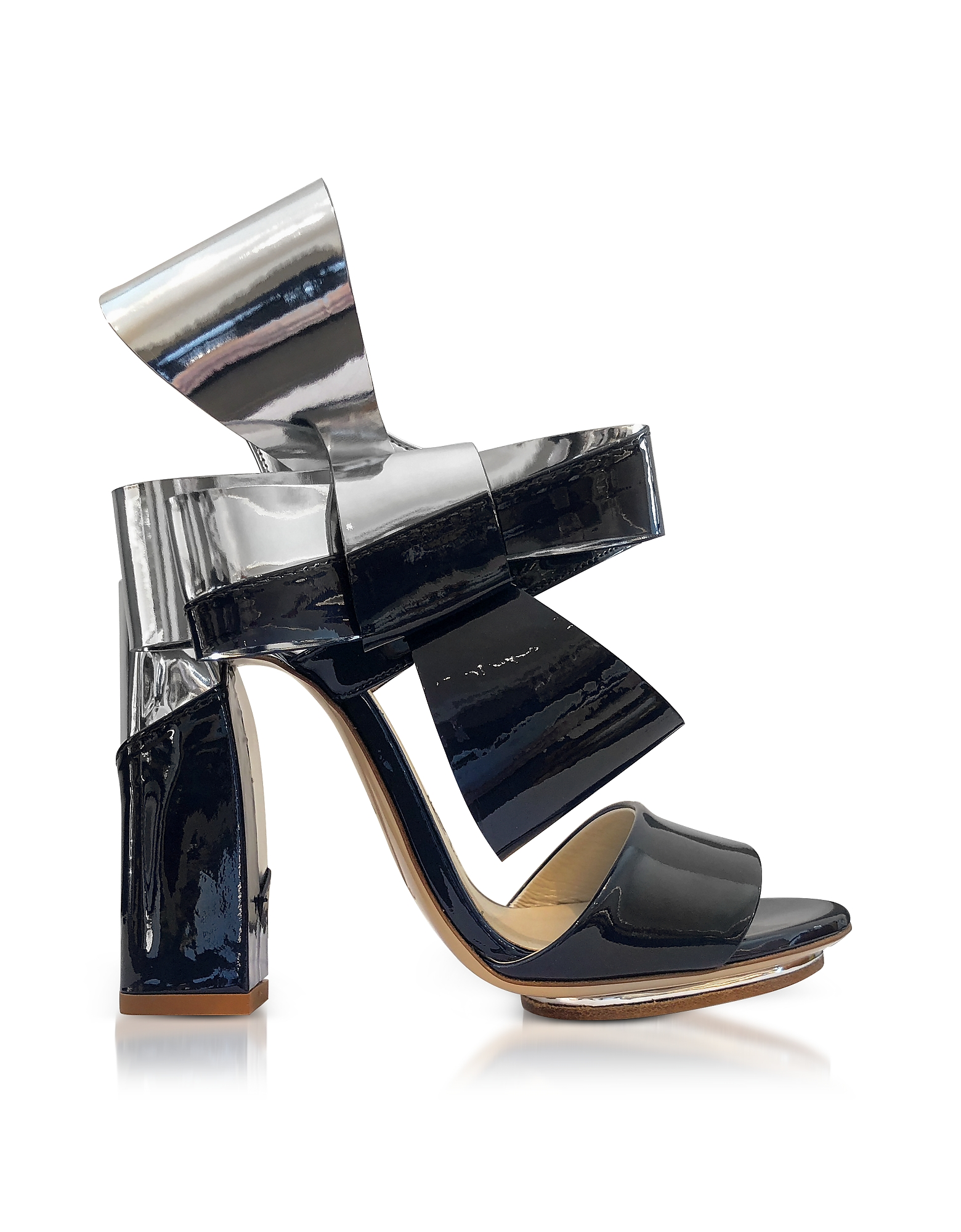 Silver and Navy Blue Patent Leather Bow Sandals