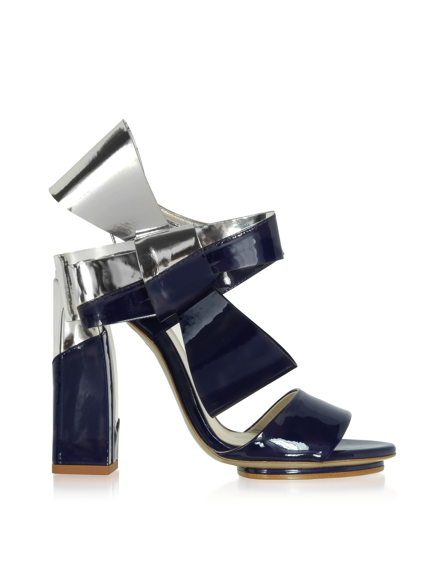 Delpozo Shoes, Silver and Navy Blue Patent Leather Bow Sandals