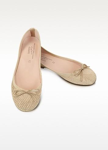Olga - Beige Stamped Leather Ballerina Shoes - Palazzo Bruciato