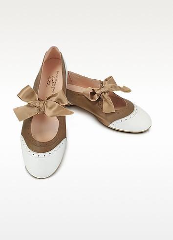 Layla - Two Tone Ballerina Shoes - Palazzo Bruciato