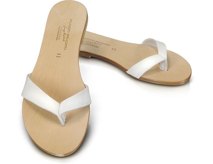 Marina - White Sandal Shoes - Palazzo Bruciato