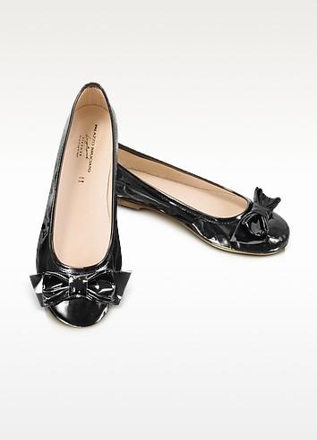 Black Patent Leather Ballerina Shoes - Palazzo Bruciato