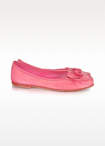 Angie Pink Leather Tassels Ballerina Loafer  - Palazzo Bruciato