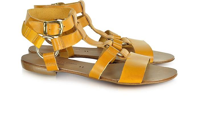 Edna Yellow Leather Sandal - Palazzo Bruciato