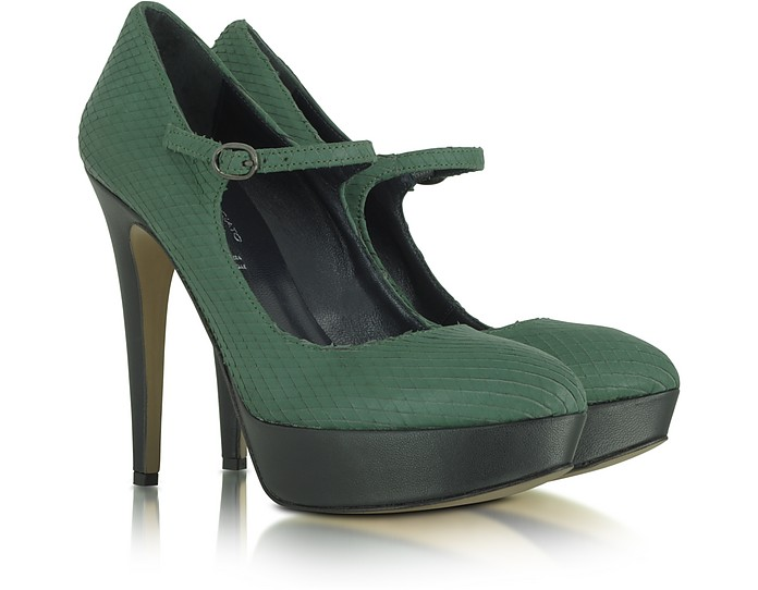 Emerald Green Python Embossed Pumps - Palazzo Bruciato