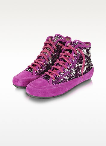 Purple Sequined High-Top Suede Sneaker Shoes - Palazzo Bruciato