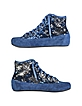 Denim Blue Sequined High-Top Suede Sneaker Shoes - Palazzo Bruciato