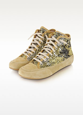 Gold Sequined High-Top Suede Sneaker Shoes - Palazzo Bruciato