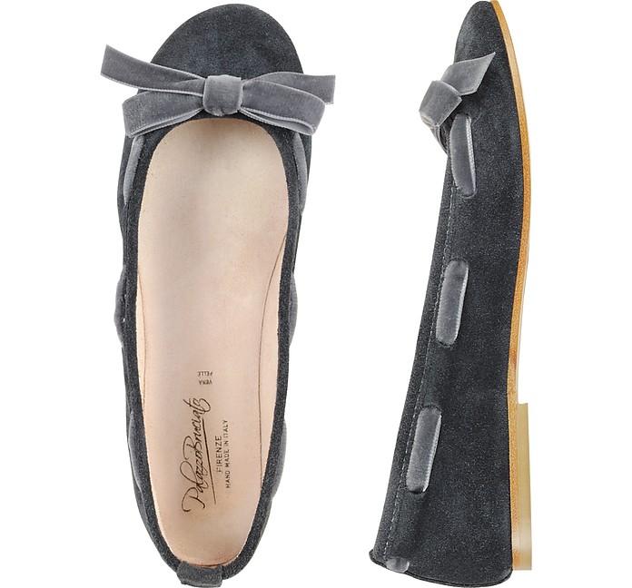 Dark Gray Suede Ballerina Shoes - Palazzo Bruciato