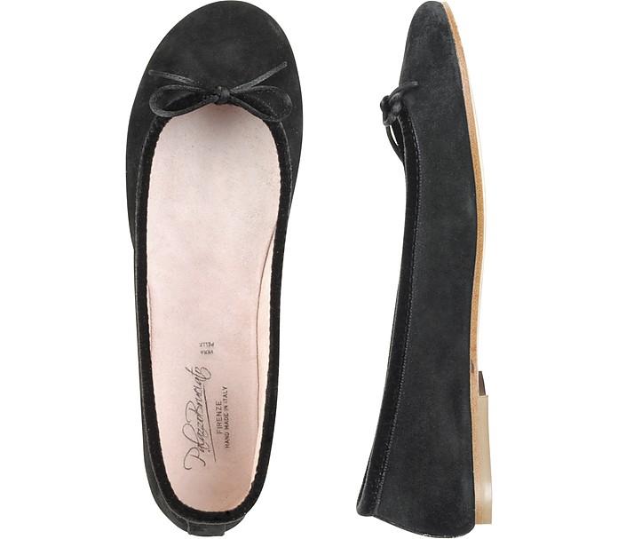 Black Suede Ballerina Shoes - Palazzo Bruciato