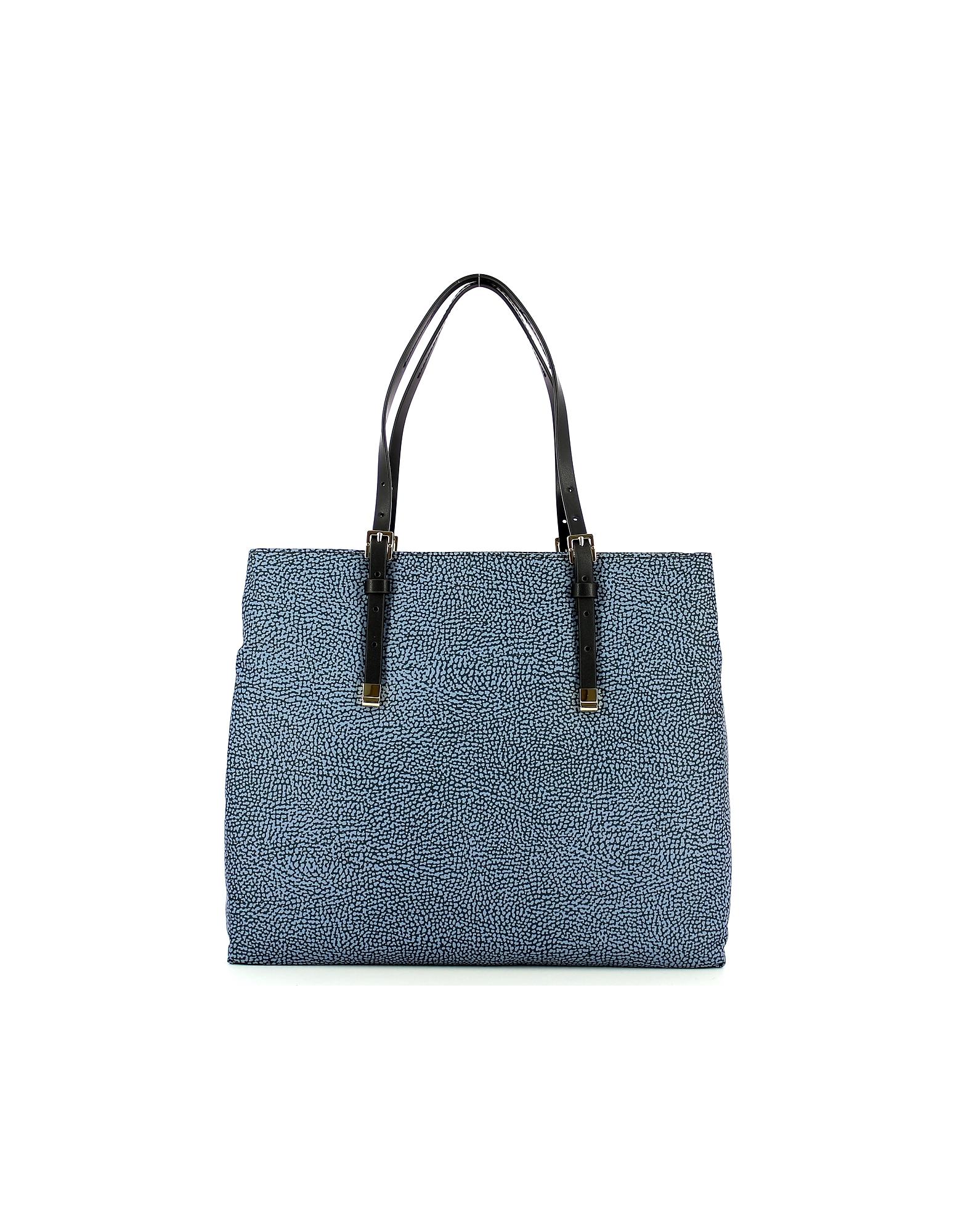 Borbonese Designer Handbags, Blue Large Shopping Bag w/Shoulder Strap