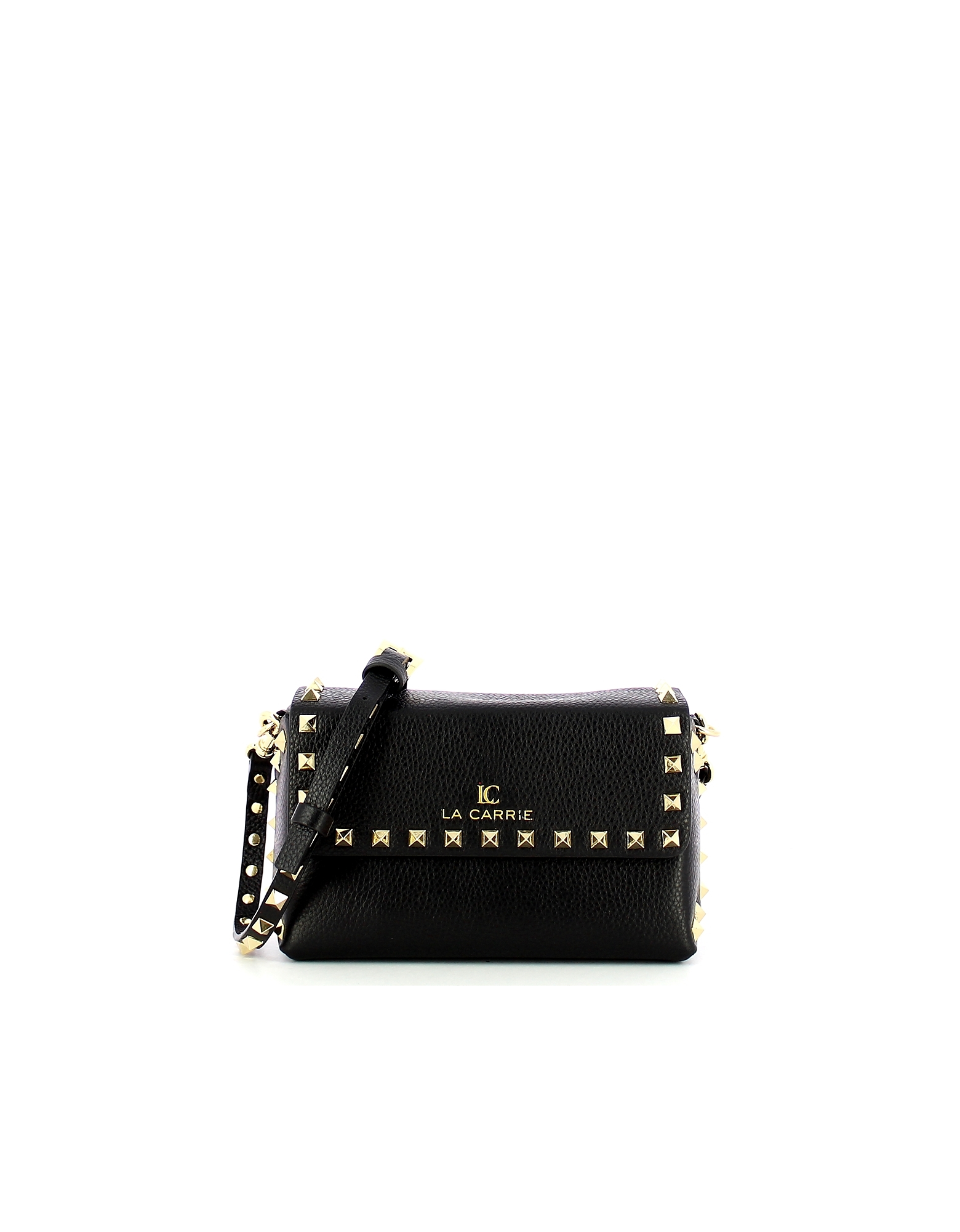 LA CARRIE Designer Handbags, Black Studded Lucy Shoulder Bag