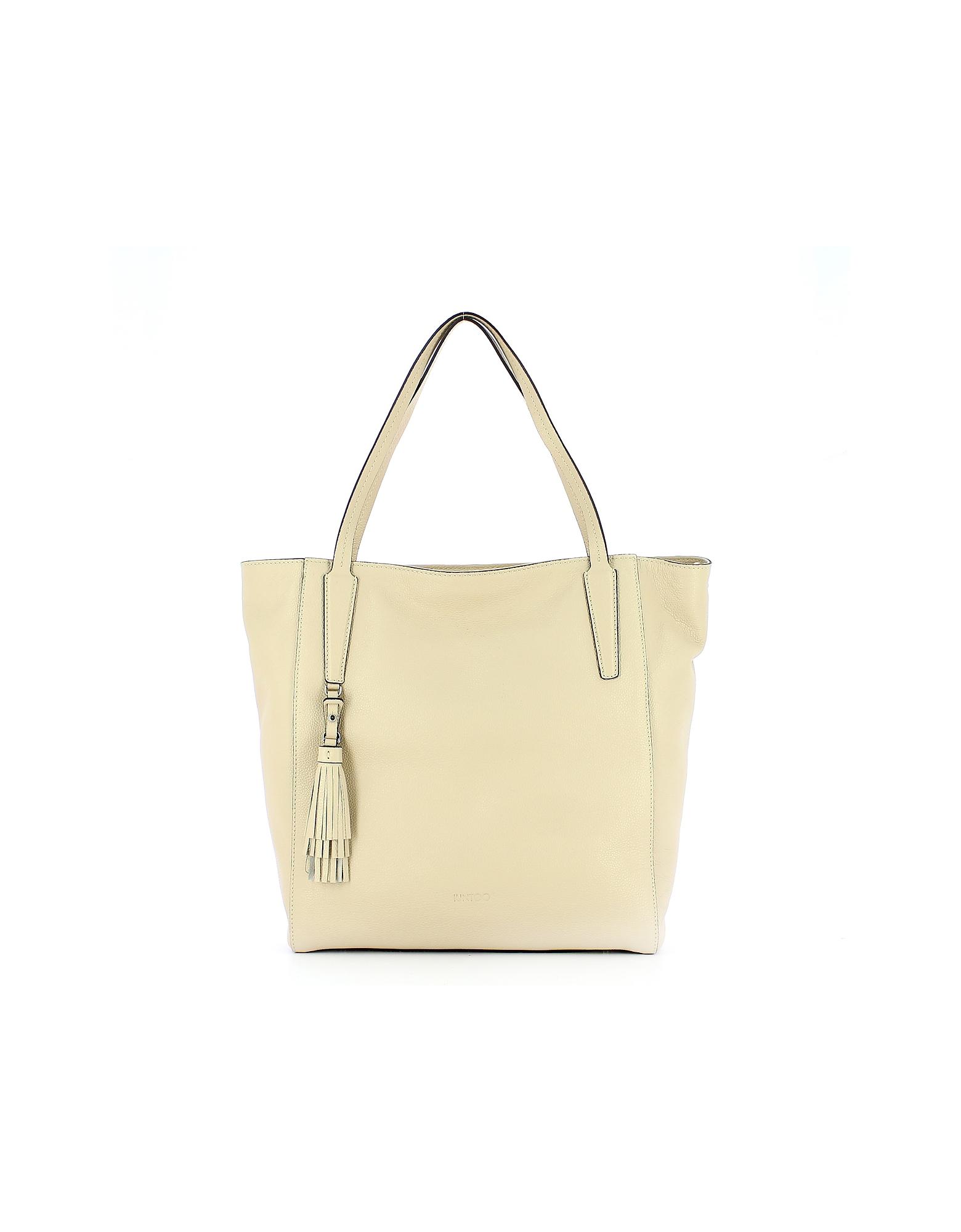 IUNTOO Designer Handbags, Beige Leather Armonia Tote Bag w/Tassel
