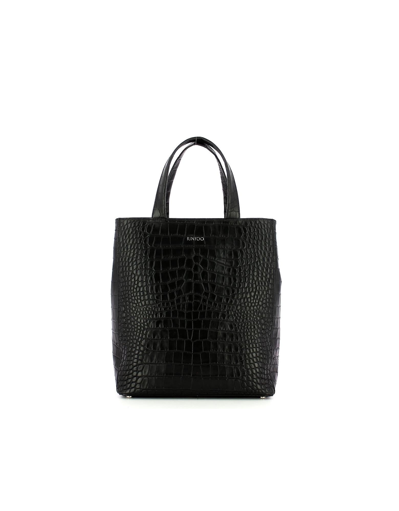 IUNTOO Designer Handbags, Black Croco Embossed Leather Gioia Tote Bag