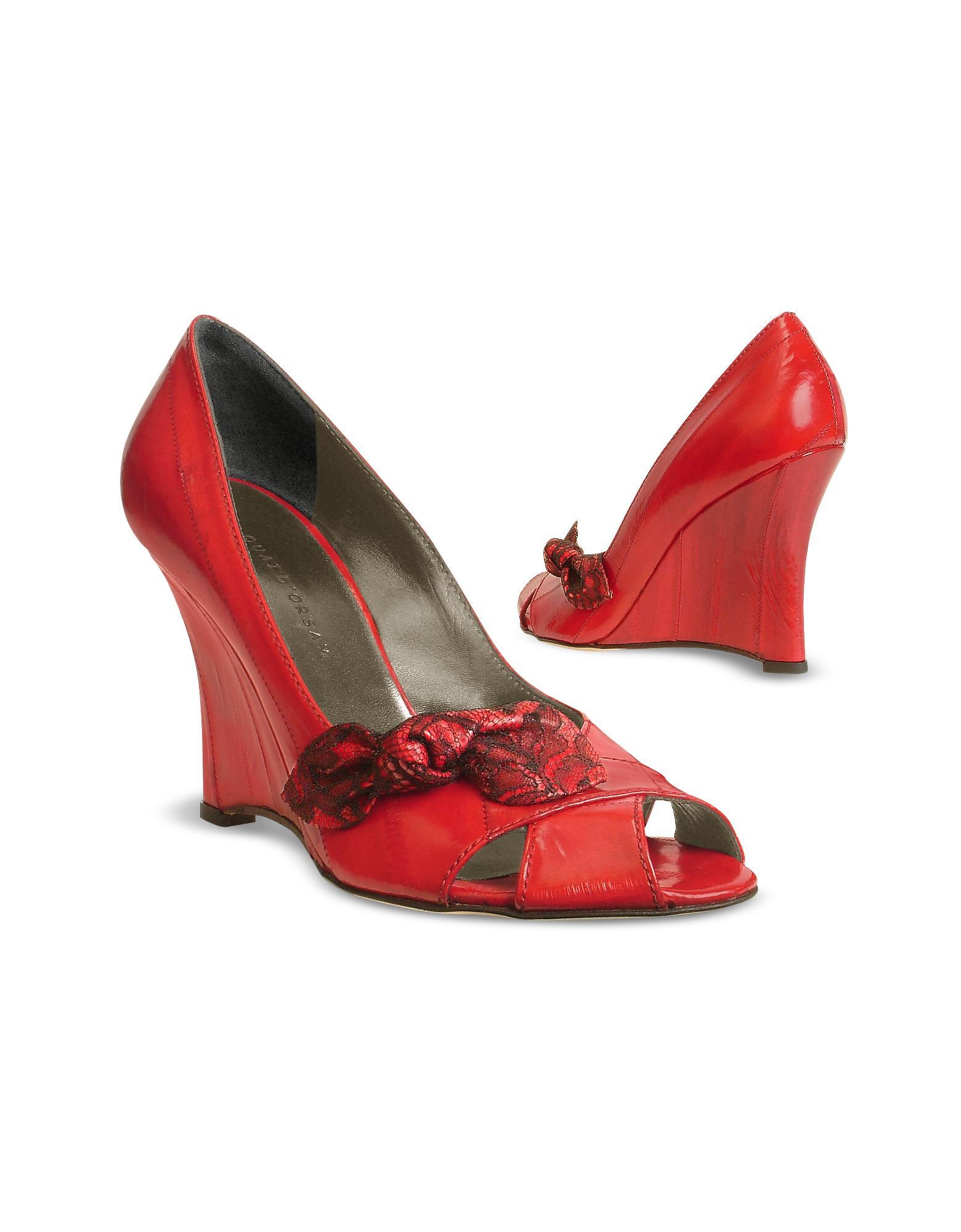 Forzieri FR Quai D'Orsay Chaussures � semelles compens�es en cuir d'anguille rouge