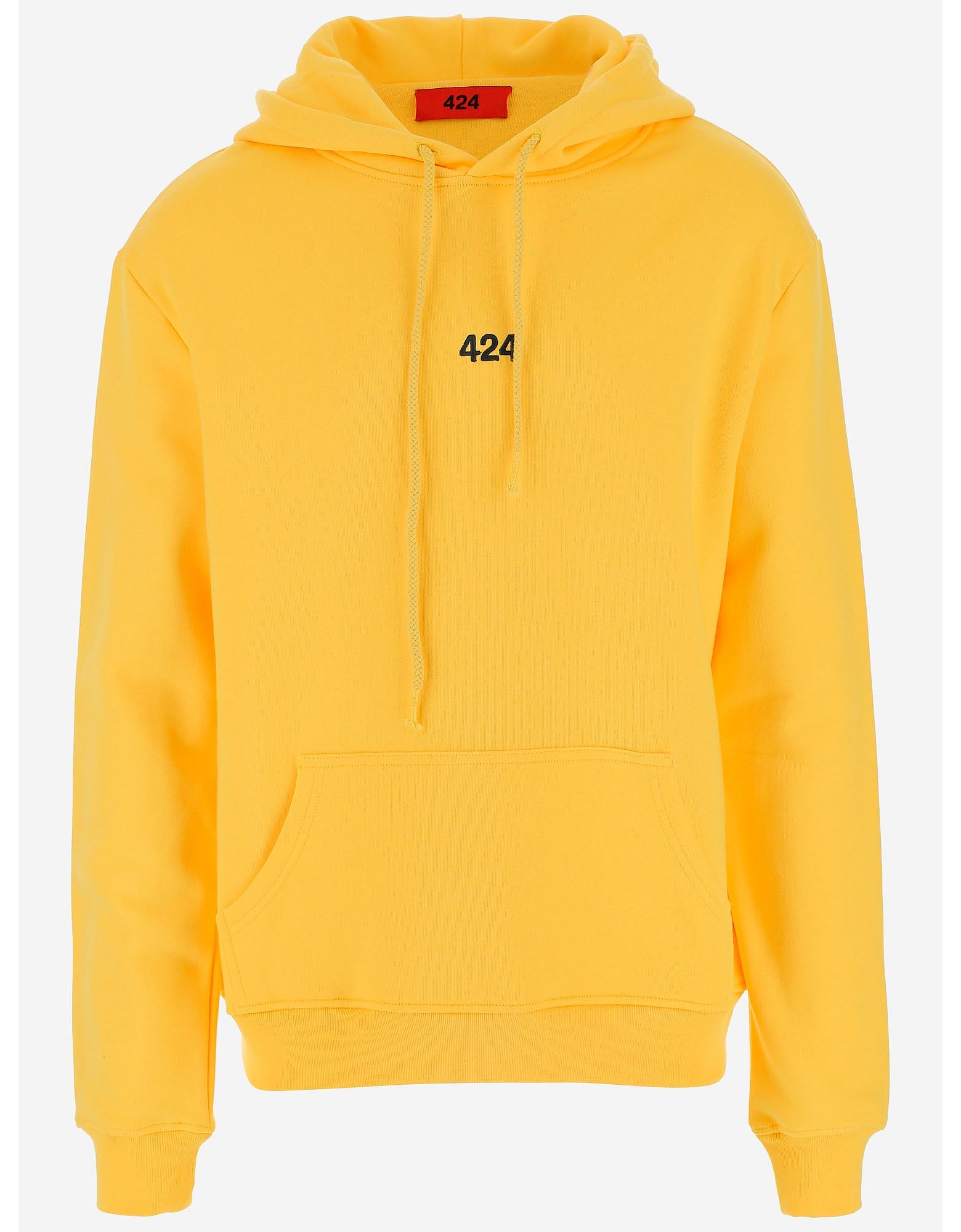 424 Designer Sweatshirts, 424 Sun Yellow Cotton Men's Hoodie