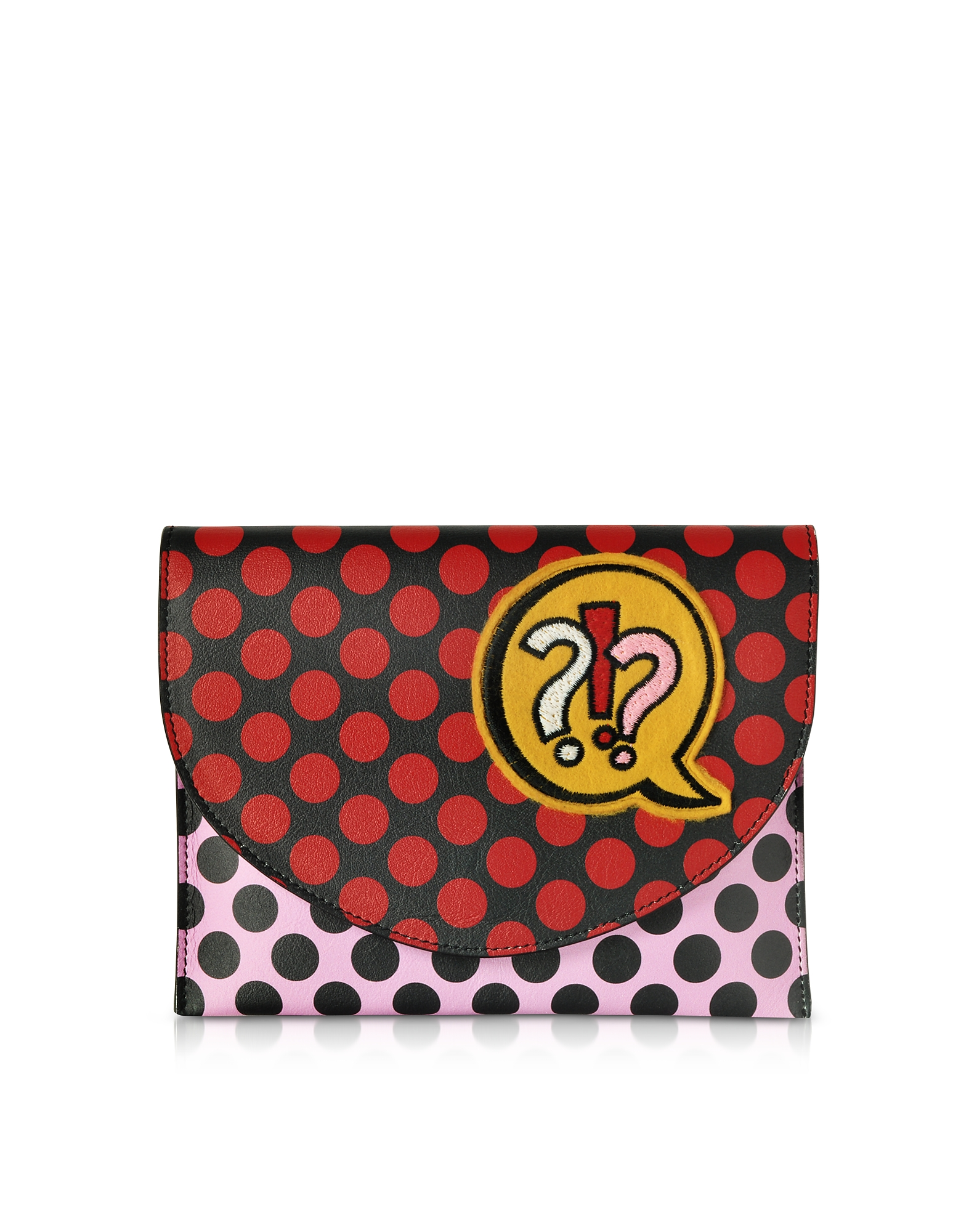 Miracle Pop Clutch in Pelle Colorblock Stampa Pois