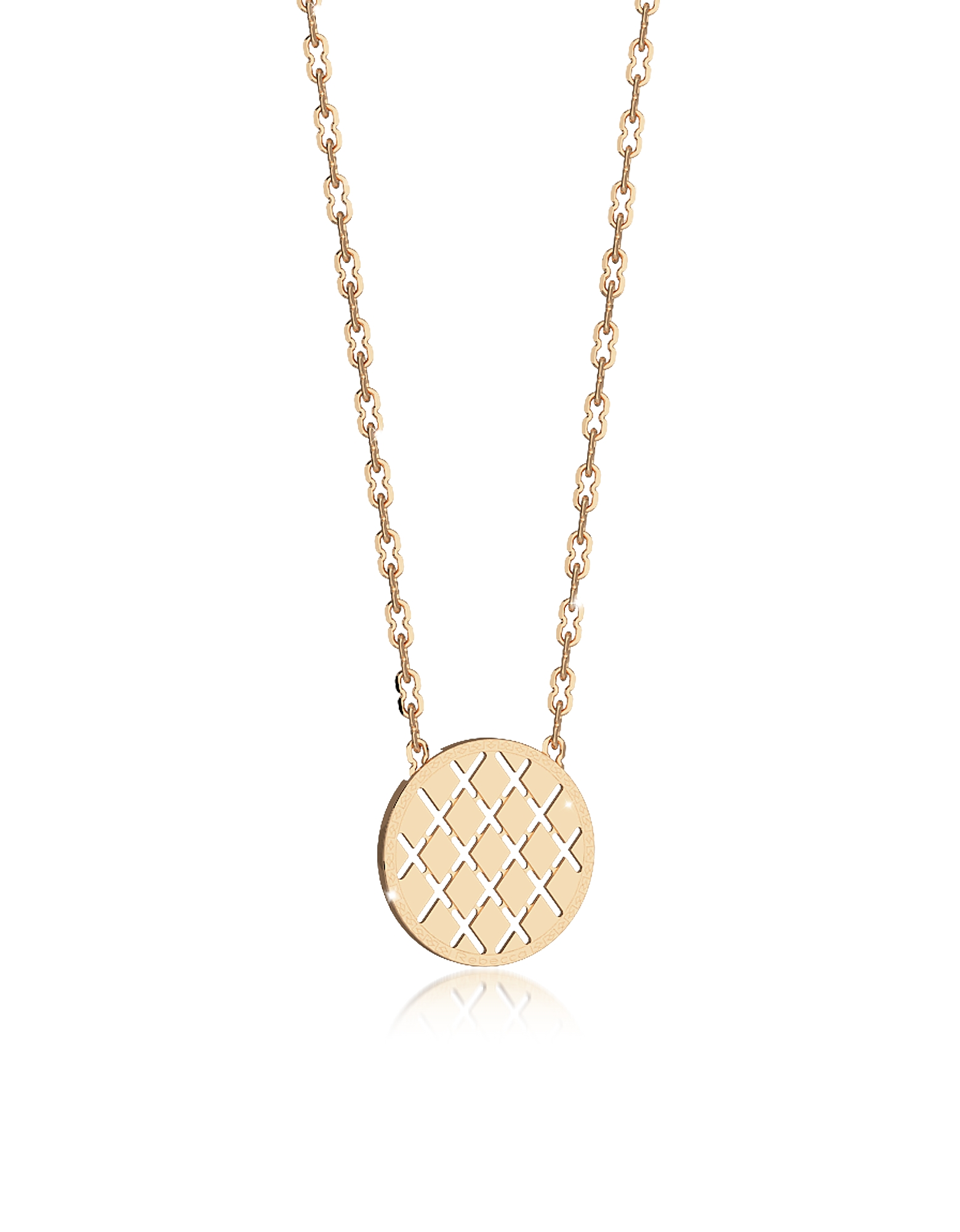 Rebecca Necklaces, Melrose Yellow Gold Over Bronze Necklace w/Round Charm