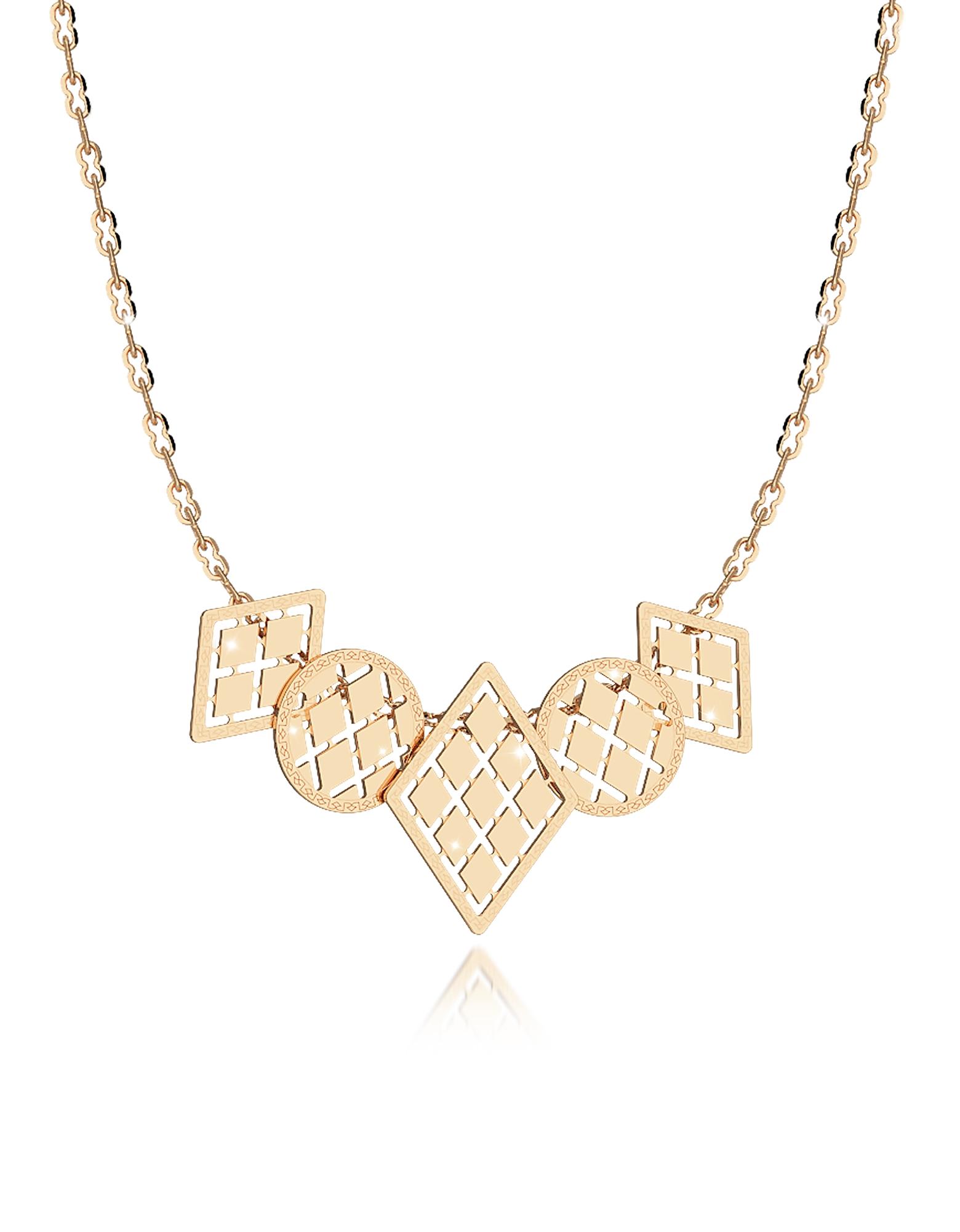 Melrose - Ожерелье из Позолоченной Меди с Пятью Геометрическими Чармами