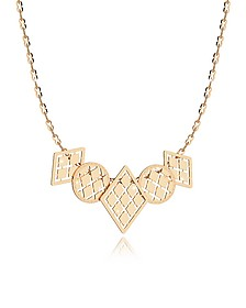 Melrose Yellow Gold Over Bronze Necklace w/Five Geometric Charms - Rebecca