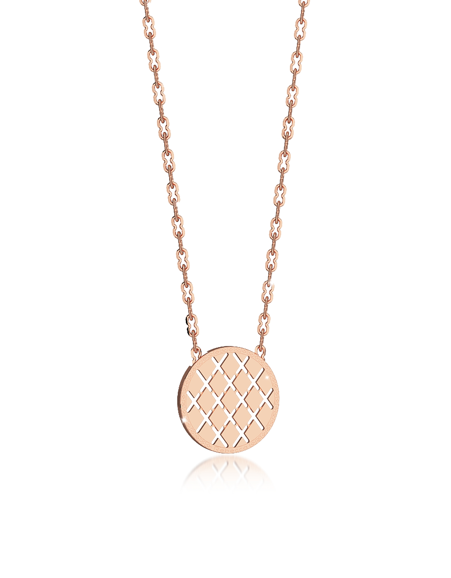 Rebecca Necklaces, Melrose Rose Gold Over Bronze Necklace w/Round Charm