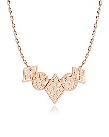 Melrose Rose Gold Over Bronze Necklace w/Five Geometric Charms - Rebecca