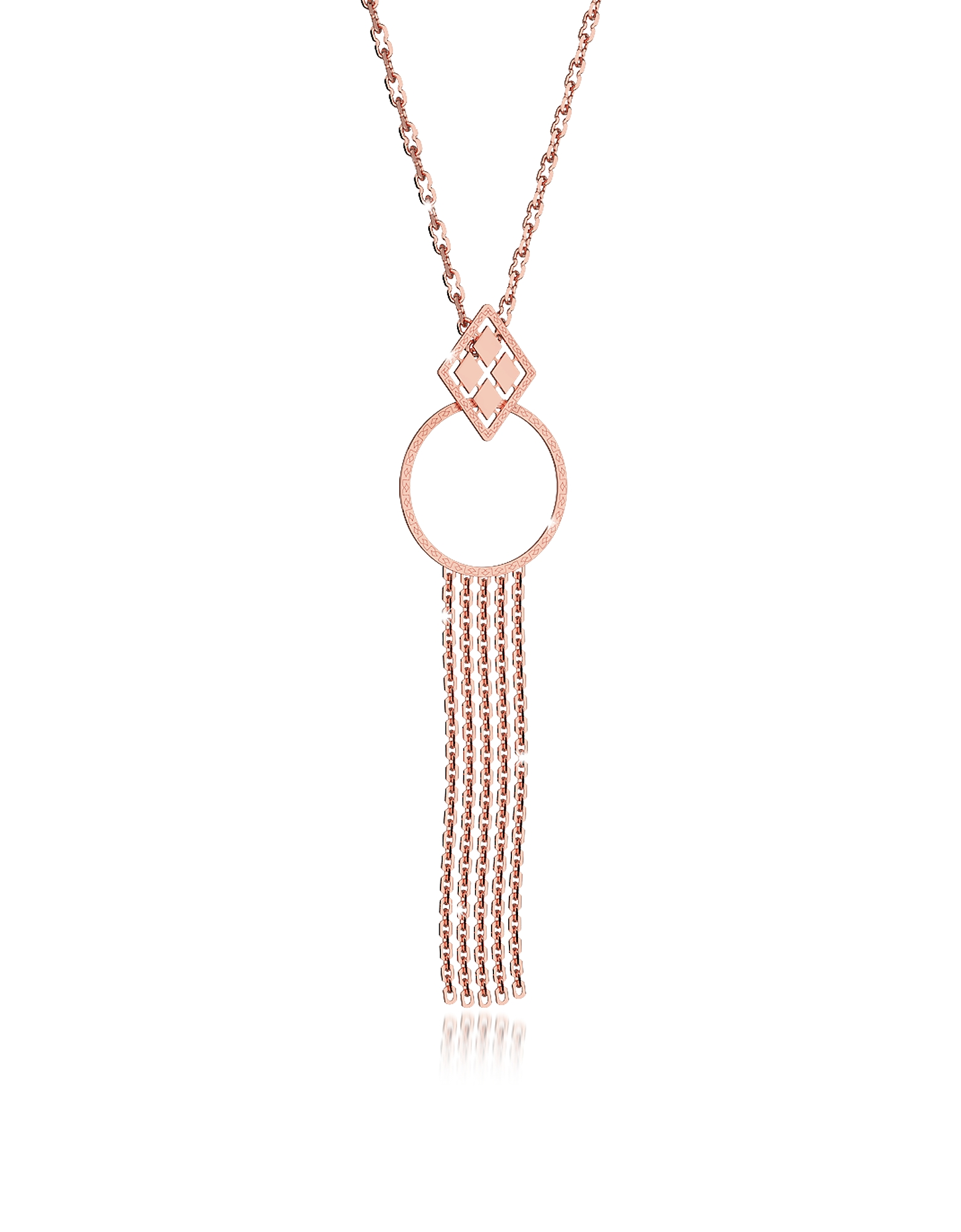 Rebecca Necklaces, Melrose Rose Gold Over Bronze Cuff Necklace w/Geometric Charms
