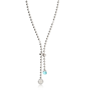 Rebecca - Boulevard Stone Rhodium Over Bronze Necklace w/Hydrothermal Turquoise Stone and Pendant Ch