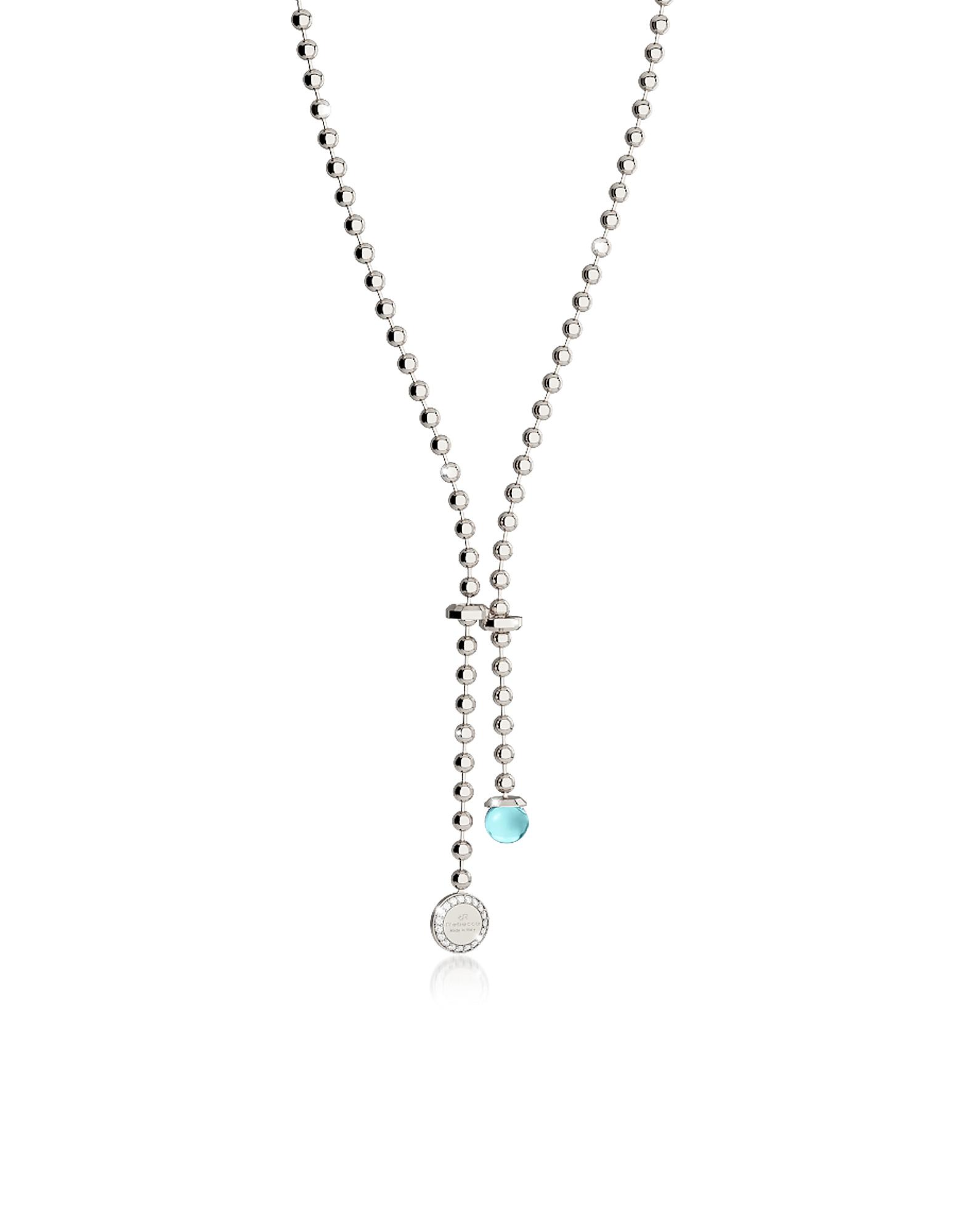 Boulevard Stone - Ожерелье из Бронзы с Родиевым Покрытием, Чармом Подвеской и Бирюзовым Гидротермальным Камнем