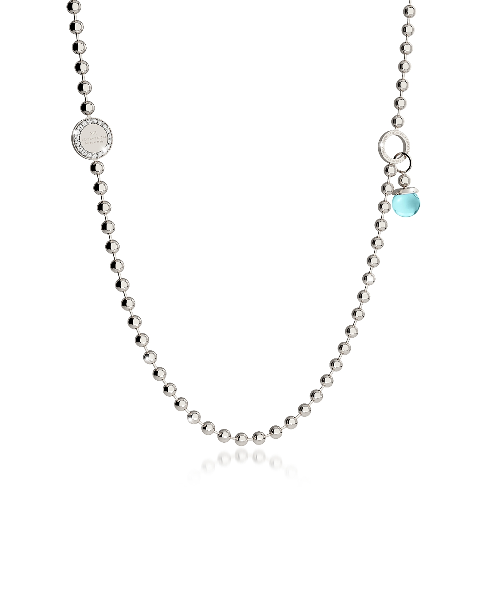 Boulevard Stone Rhodium Over Bronze Necklace w/Double Charms