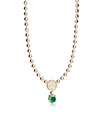 Rebecca - Boulevard Stone Yellow Gold Over Bronze Necklace w/Hydrothermal Green Stones