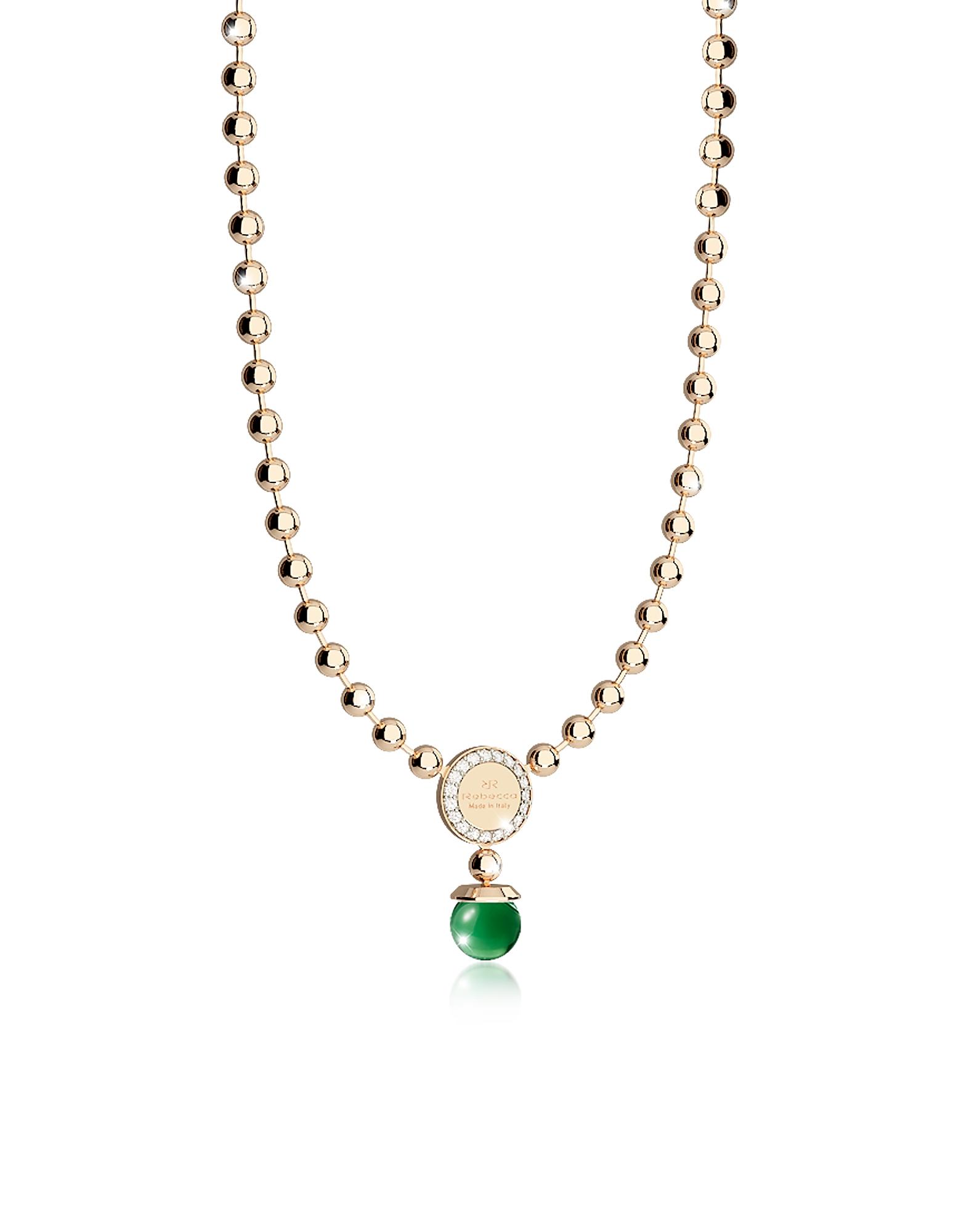 Boulevard Stone - Позолоченное Ожерелье из Бронзы с Зелеными Гидротермальными Камнями