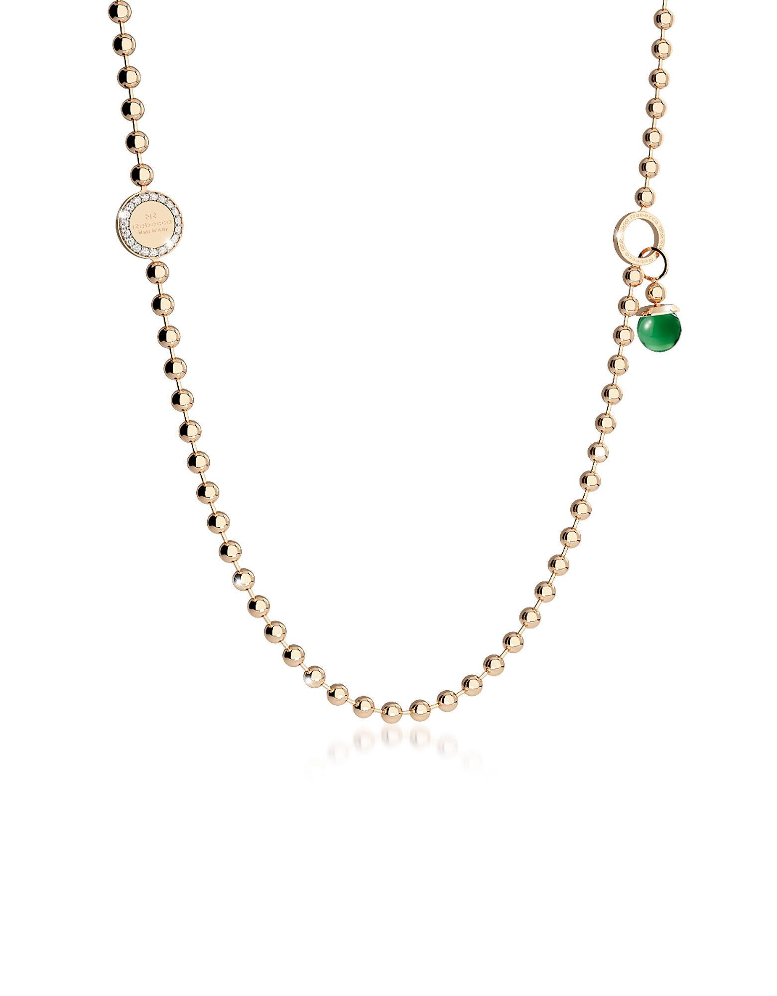 Rebecca Necklaces, Boulevard Stone Yellow Gold Over Bronze Necklace w/Double Charms