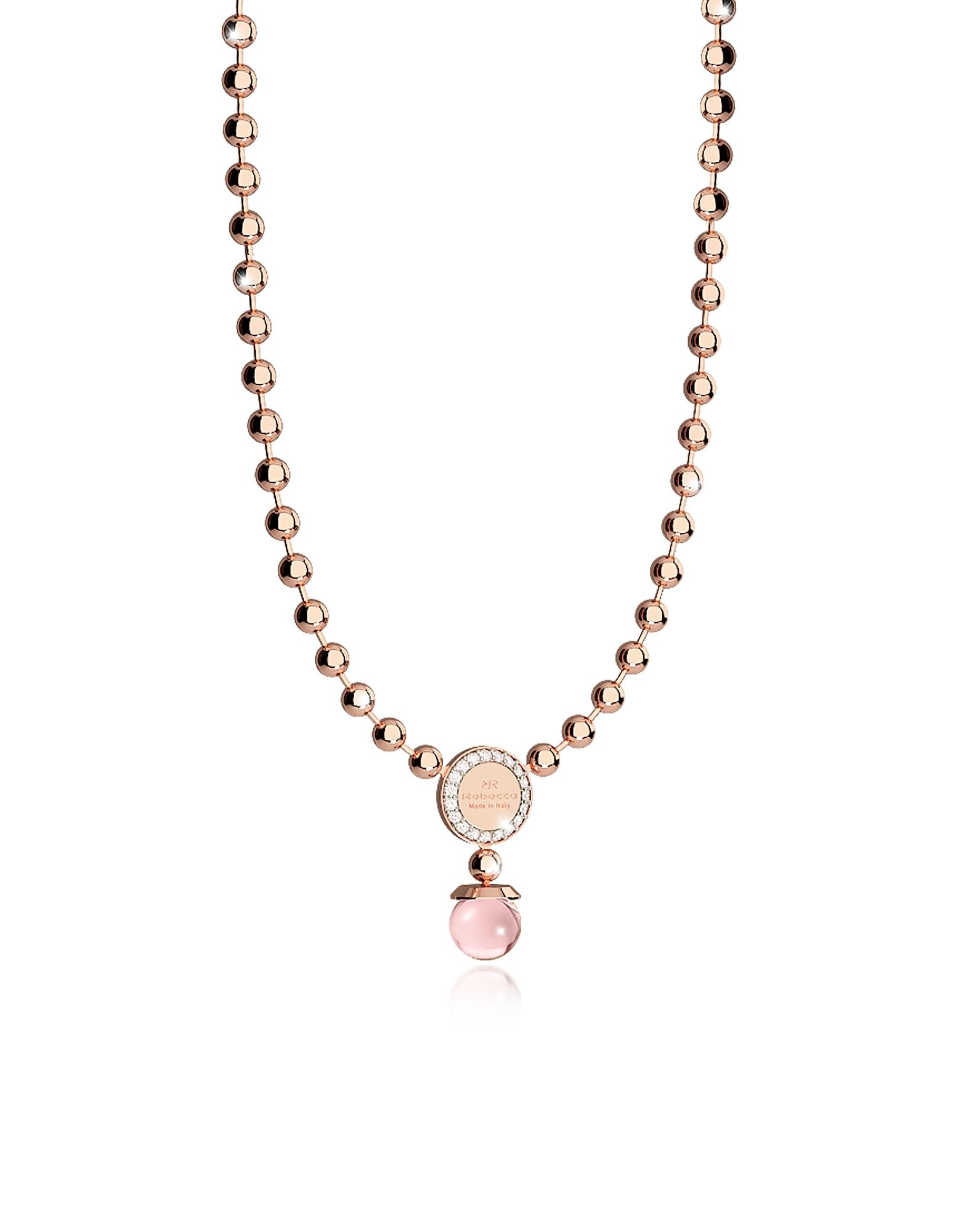 Boulevard Stone - Ожерелье из Бронзы с Напылением Розового Золота с Розовыми Гидротермальными Камнями