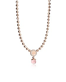 Boulevard Stone Rose Gold Over Bronze Necklace w/Hydrothermal Pink Stones - Rebecca