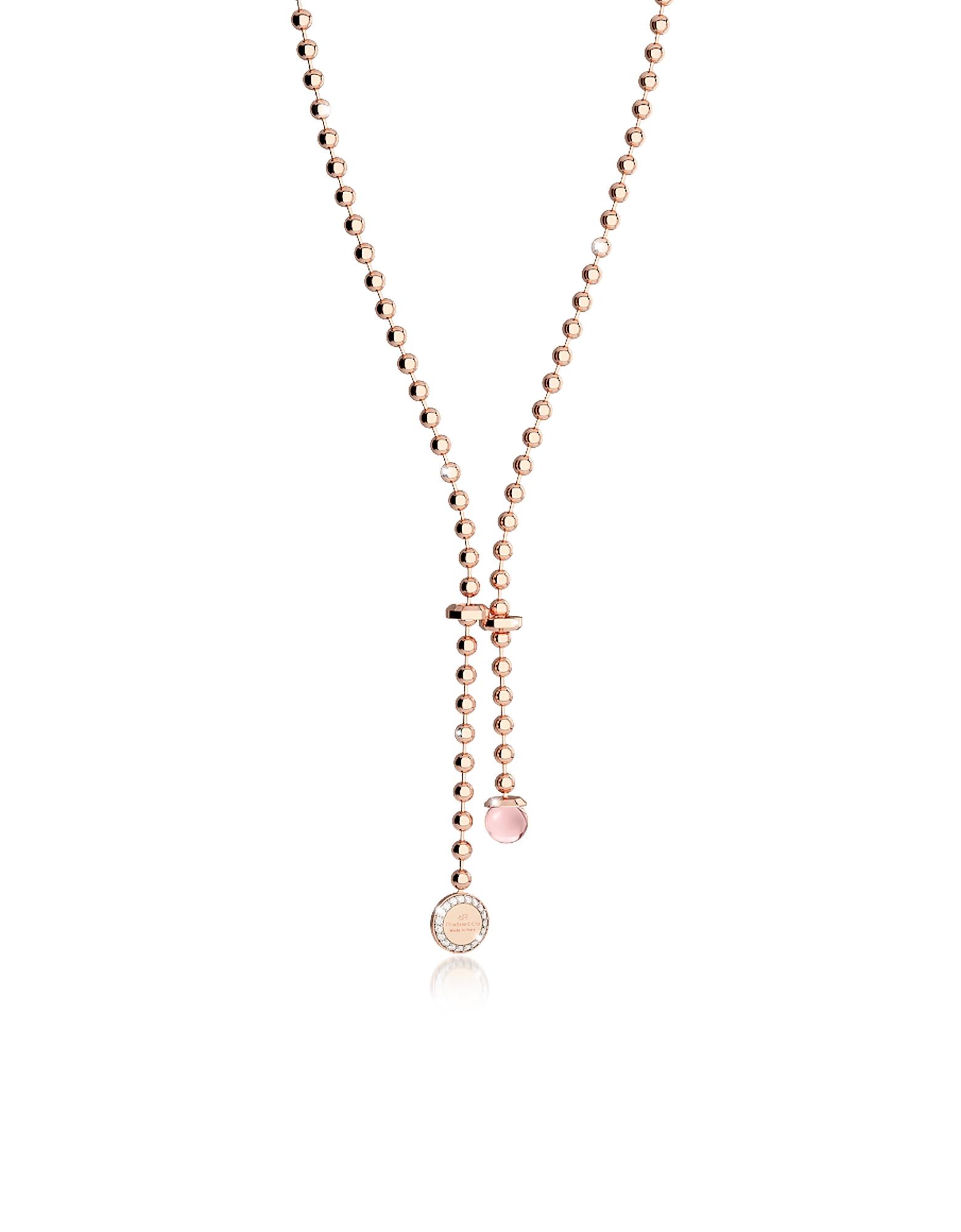 Boulevard Stone - Ожерелье из Бронзы с Напылением Розового Золота с Розовым Гидротермальным Камнем и Чармом