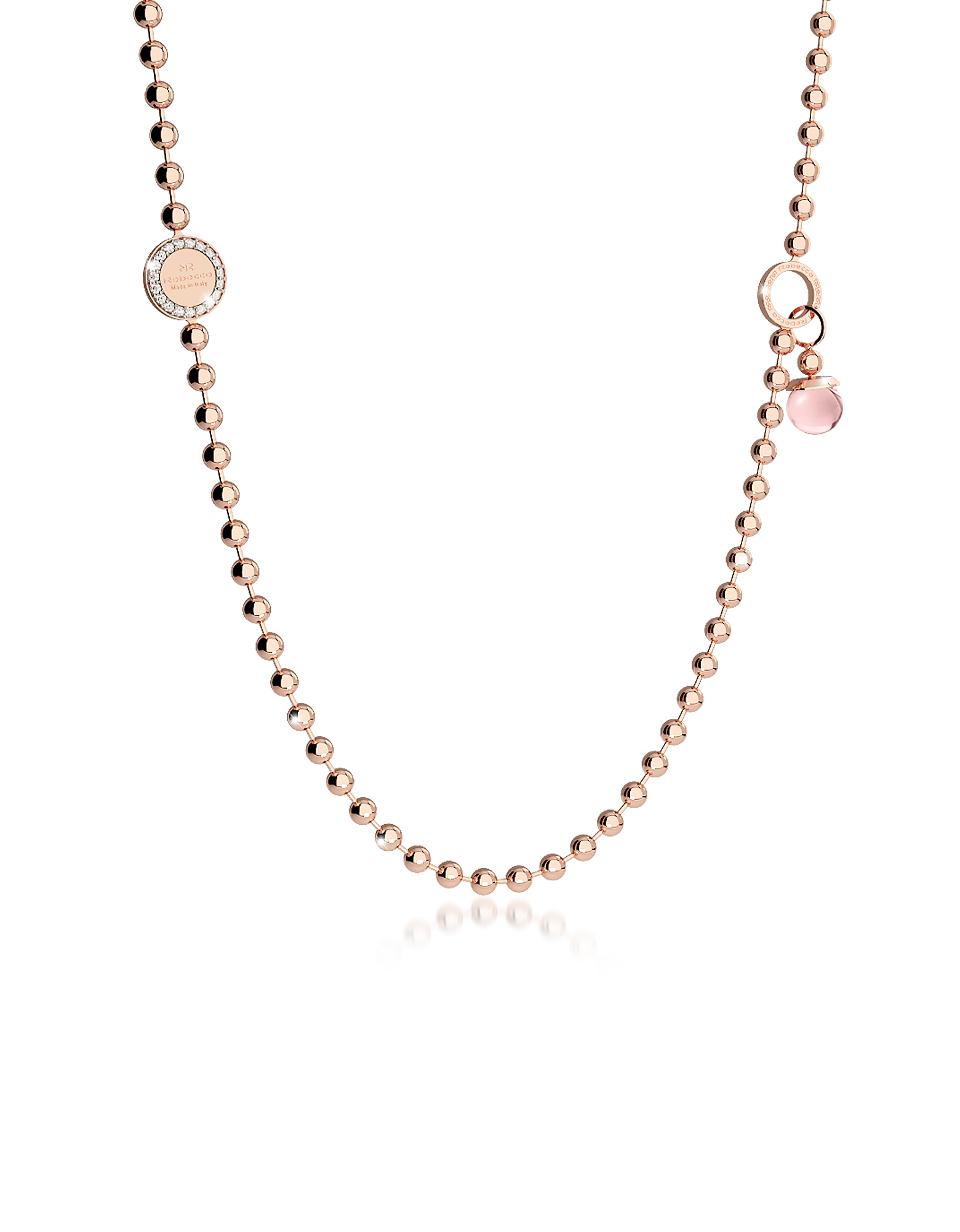 Rebecca Necklaces, Boulevard Stone Rose Gold Over Bronze Necklace w/Double Charms