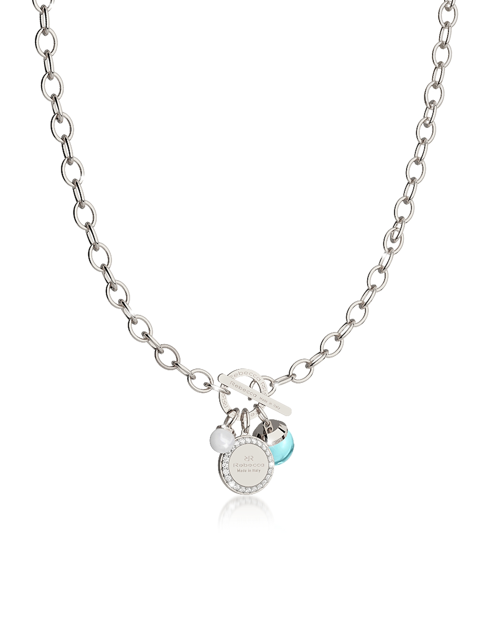 Rebecca Necklaces, Hollywood Stone Rhodium Over Bronze Chain Necklace w/Hydrothermal Turquoise Stone
