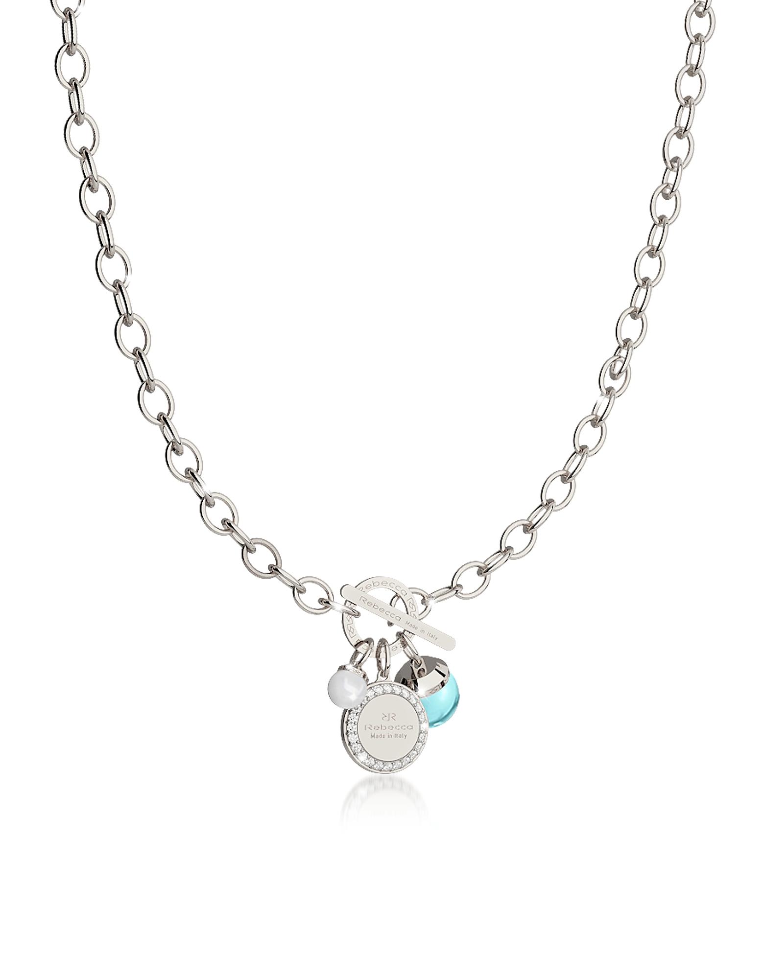 Hollywood Stone - Ожерелье из Бронзы с Родиевым Покрытием, Бирюзовым Гидротермальным Камнем и Стеклянной Жемчужиной