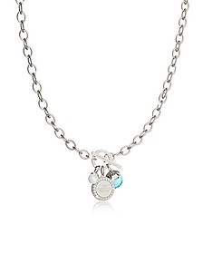 Hollywood Stone Rhodium Over Bronze Chain Necklace w/Hydrothermal Turquoise Stone and Glass Pearl - Rebecca