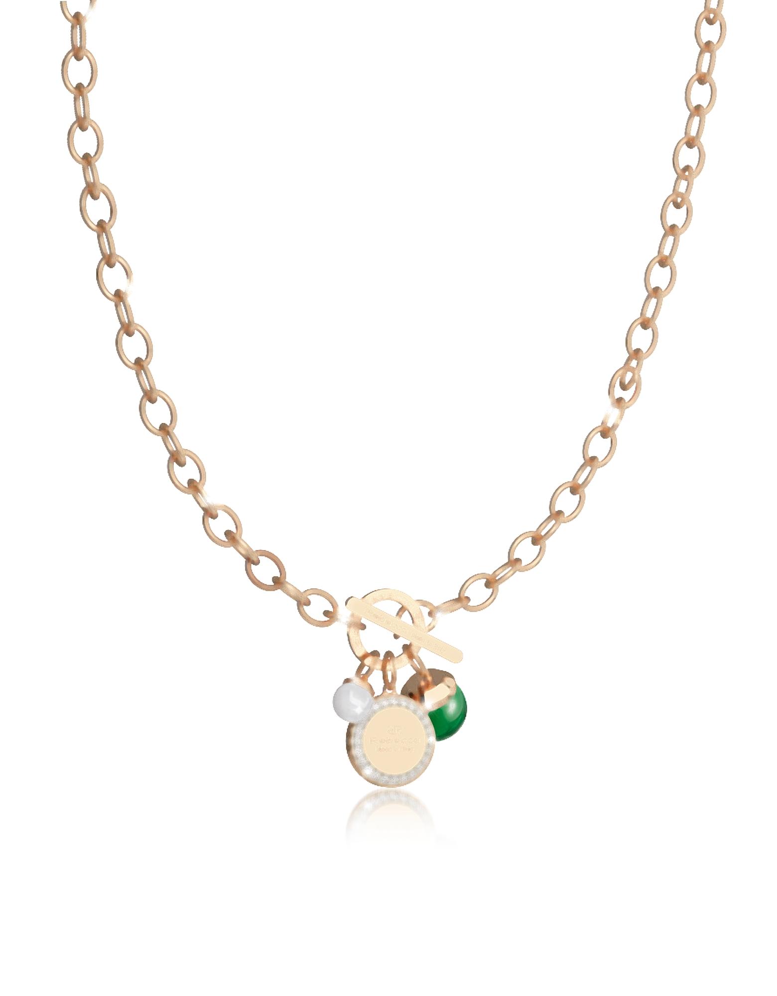 Hollywood Stone - Ожерелье из Бронзы с Напылением Желтого Золота, Зеленым Гидротермальным Камнем и Стеклянной Жемчужиной