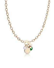 Hollywood Stone Yellow Gold Over Bronze Chain Necklace w/Hydrothermal Green Stone and Glass Pearl - Rebecca