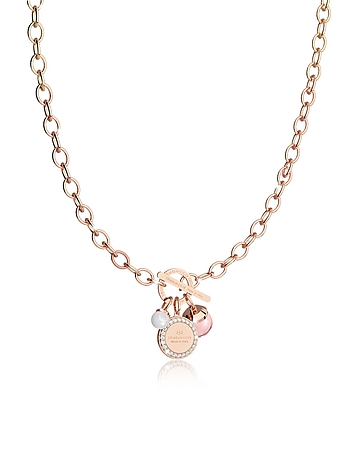 Rebecca - Hollywood Stone Rose Gold Over Bronze Chain Necklace w/Hydrothermal Pink Stone and Glass P